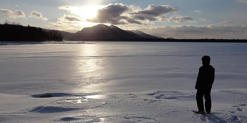 View across a frozen Flagstaff Lake