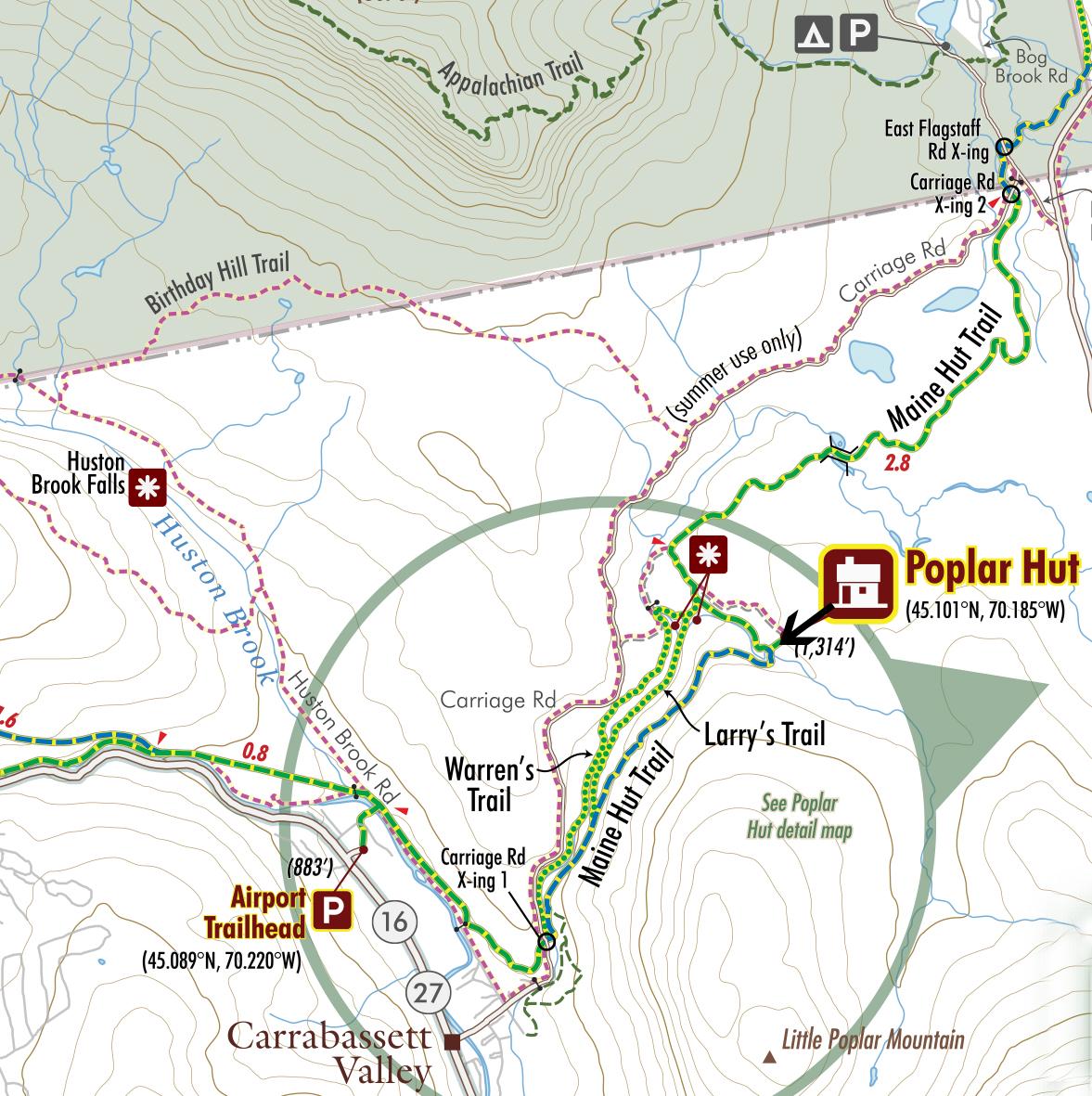 Kingfield Maine Map.Poplar Hut To Hut Hiking In Kingfield Maine Huts Trails