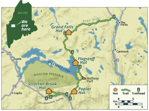 Overview map of huts and trails system