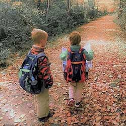 Boys hiking in fall