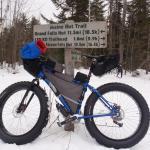 Fat bike at trail sign
