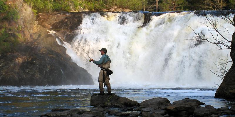 Fly fishing at Grand Falls
