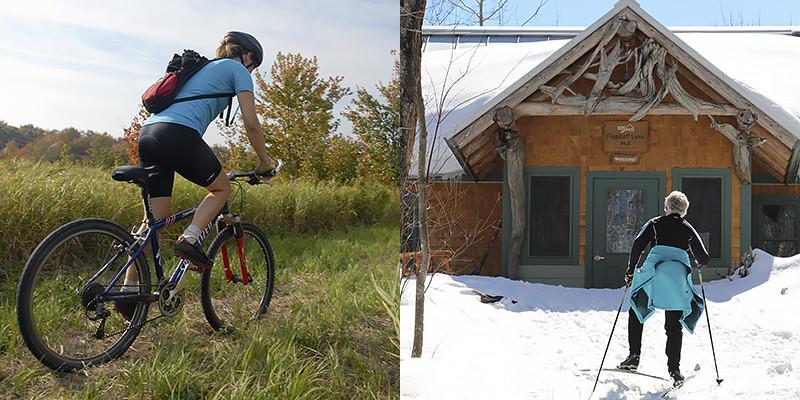Mountain biking and crosss-country skiing to Flagstaff Lake Hut