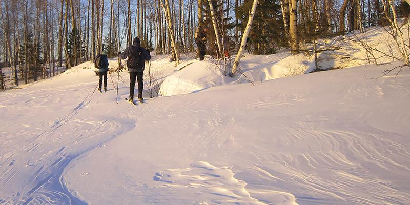 Skiing a winter trail at Maine Huts & Trails